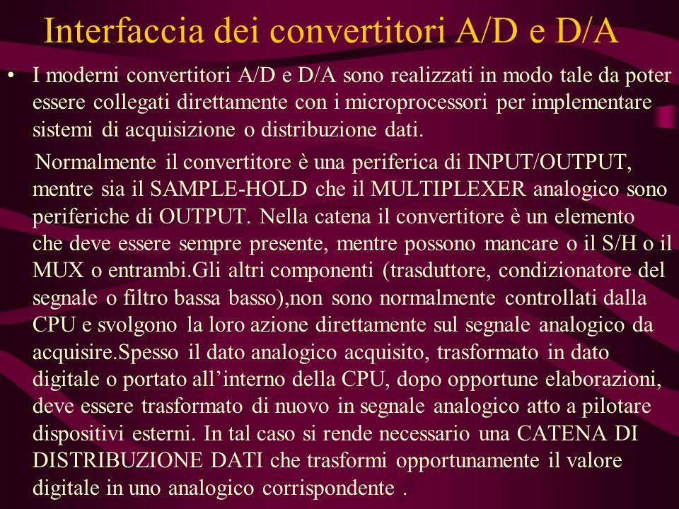 Interfaccia dei convertitori A/D e D/A I moderni convertitori A/D e D/A sono realizzati in modo tale da poter essere collegati direttamente con i microprocessori per implementare sistemi di acquisizione o distribuzione dati.