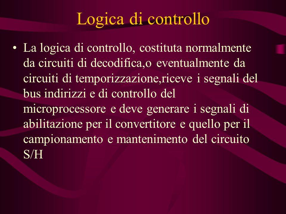 Logica di controllo La logica di controllo, costituta normalmente da circuiti di decodifica,o eventualmente da circuiti di temporizzazione,riceve i se