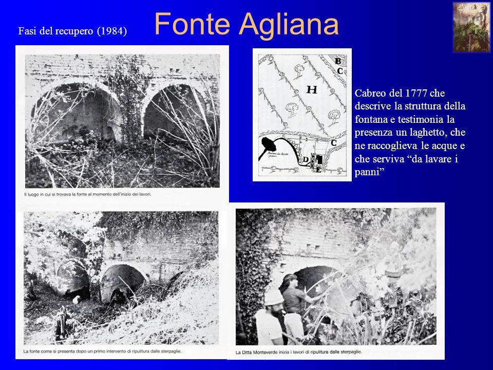 Fonte Agliana Cabreo del 1777 che descrive la struttura della fontana e testimonia la presenza un laghetto, che ne raccoglieva le acque e che serviva da lavare i panni Fasi del recupero (1984)