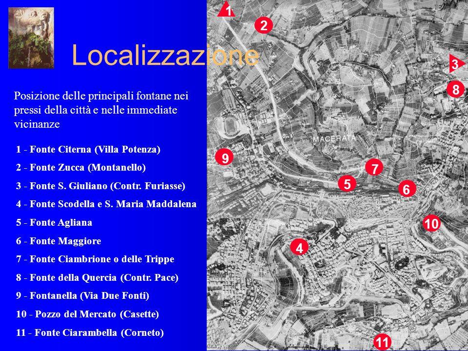 Posizione delle principali fontane nei pressi della città e nelle immediate vicinanze 1 - Fonte Citerna (Villa Potenza) 2 - Fonte Zucca (Montanello) 3 - Fonte S.