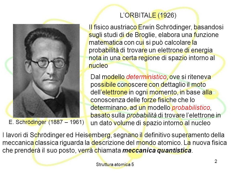 Struttura atomica 5 2 LORBITALE (1926) E. Schrödinger (1887 – 1961) Il fisico austriaco Erwin Schrödinger, basandosi sugli studi di de Broglie, elabor