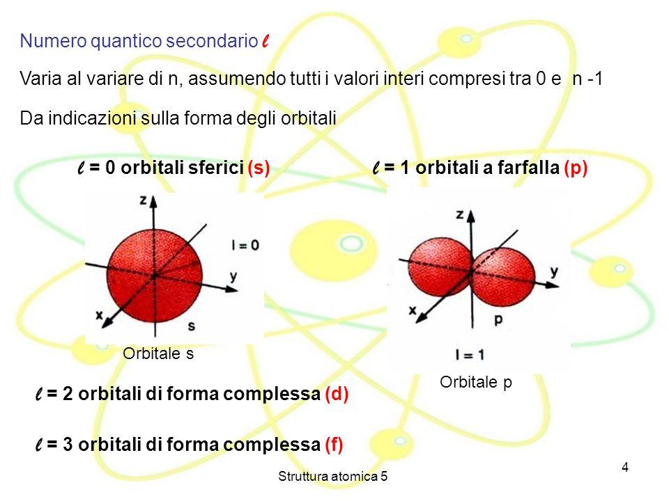 Struttura atomica 5 4 Numero quantico secondario l Varia al variare di n, assumendo tutti i valori interi compresi tra 0 e n -1 Da indicazioni sulla f