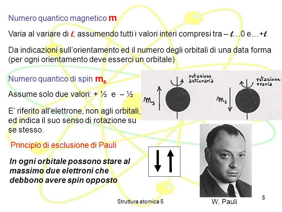 Struttura atomica 5 5 Numero quantico magnetico m Varia al variare di l, assumendo tutti i valori interi compresi tra – l …0 e…+ l Da indicazioni sull