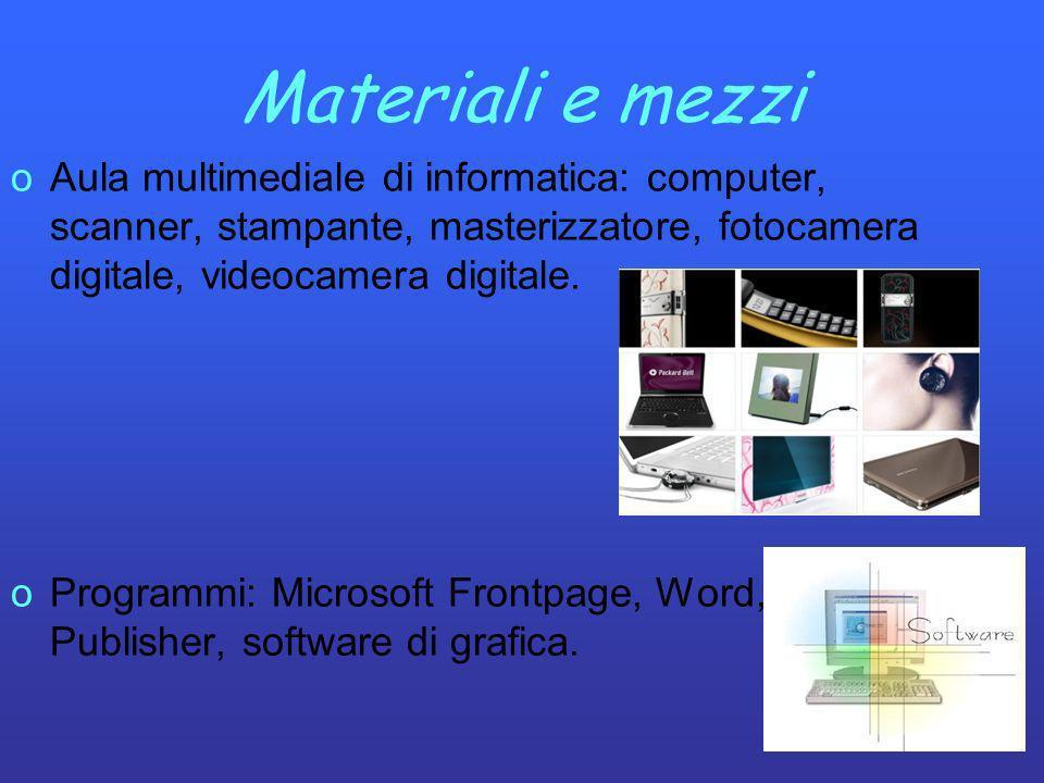 Materiali e mezzi oAula multimediale di informatica: computer, scanner, stampante, masterizzatore, fotocamera digitale, videocamera digitale. oProgram