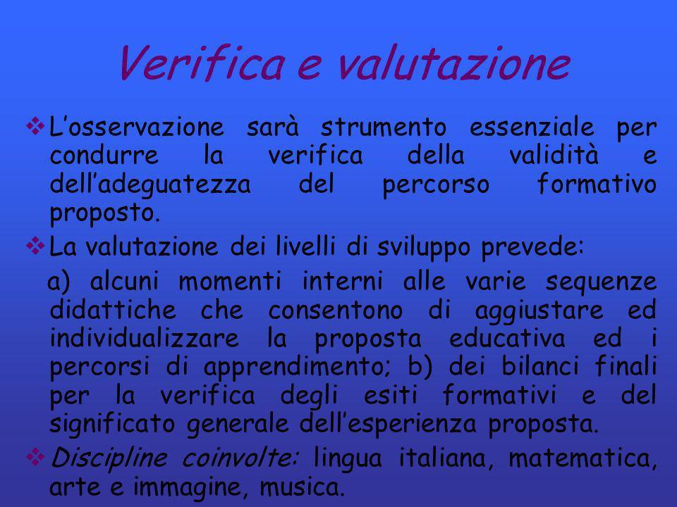 Verifica e valutazione Losservazione sarà strumento essenziale per condurre la verifica della validità e delladeguatezza del percorso formativo propos