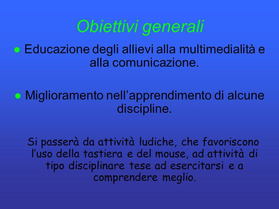 Obiettivi generali Educazione degli allievi alla multimedialità e alla comunicazione. Miglioramento nellapprendimento di alcune discipline. Si passerà