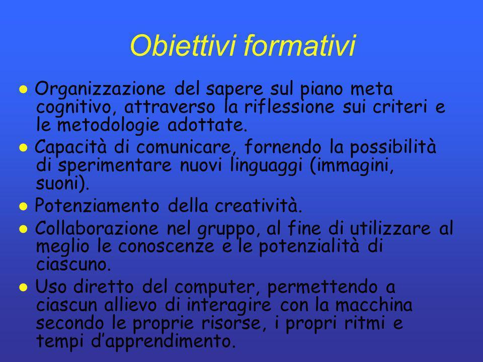 Obiettivi formativi Organizzazione del sapere sul piano meta cognitivo, attraverso la riflessione sui criteri e le metodologie adottate. Capacità di c