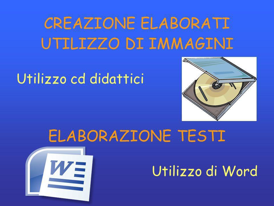 CREAZIONE ELABORATI UTILIZZO DI IMMAGINI Utilizzo cd didattici ELABORAZIONE TESTI Utilizzo di Word