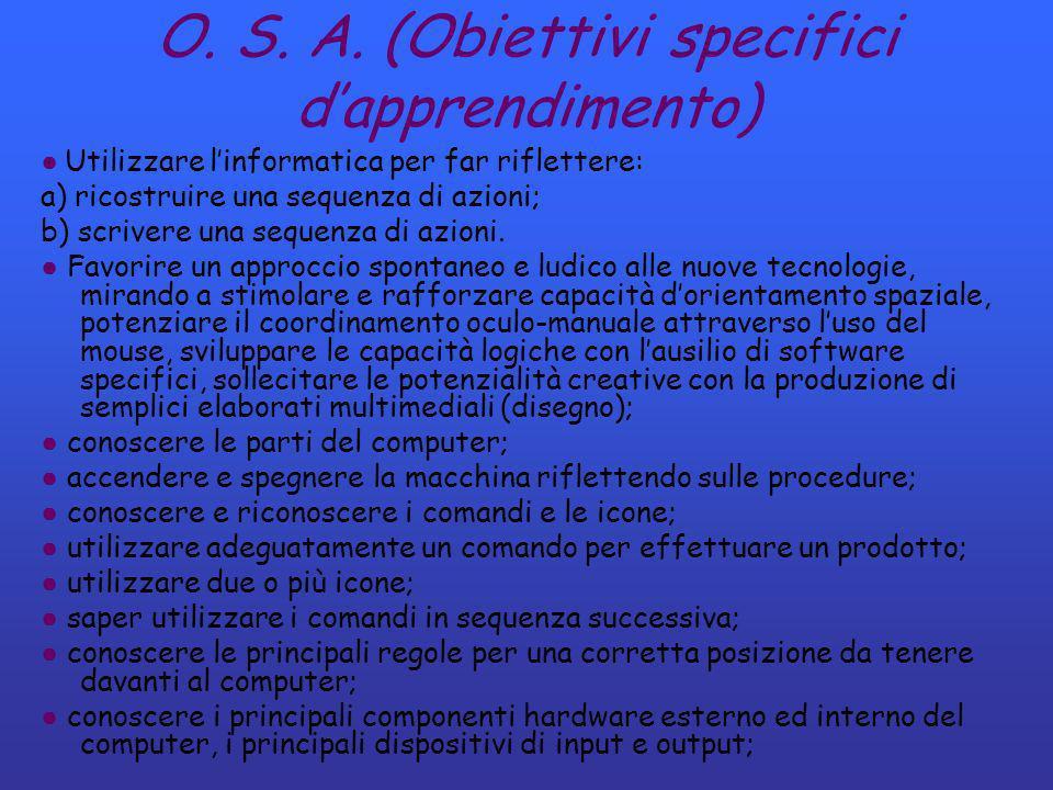 O. S. A. (Obiettivi specifici dapprendimento) Utilizzare linformatica per far riflettere: a) ricostruire una sequenza di azioni; b) scrivere una seque