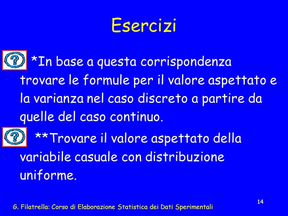 G. Filatrella: Corso di Elaborazione Statistica dei Dati Sperimentali 14 Esercizi *In base a questa corrispondenza trovare le formule per il valore as