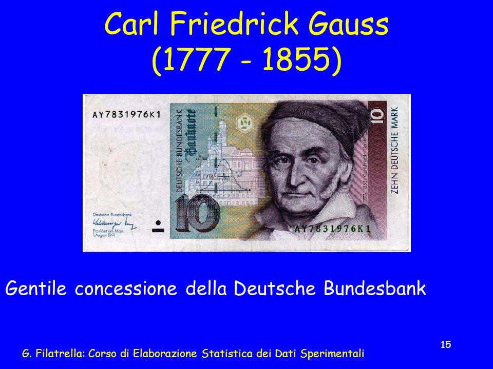 G. Filatrella: Corso di Elaborazione Statistica dei Dati Sperimentali 15 Carl Friedrick Gauss (1777 - 1855) Gentile concessione della Deutsche Bundesb