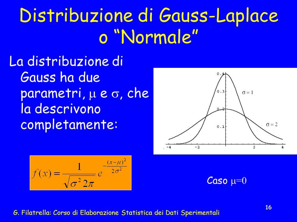 G. Filatrella: Corso di Elaborazione Statistica dei Dati Sperimentali 16 Distribuzione di Gauss-Laplace o Normale La distribuzione di Gauss ha due par