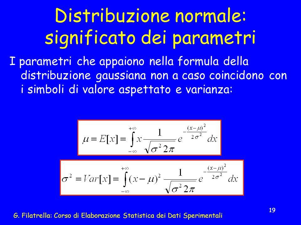 G. Filatrella: Corso di Elaborazione Statistica dei Dati Sperimentali 19 Distribuzione normale: significato dei parametri I parametri che appaiono nel