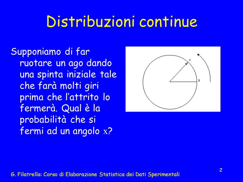 G. Filatrella: Corso di Elaborazione Statistica dei Dati Sperimentali 2 Distribuzioni continue Supponiamo di far ruotare un ago dando una spinta inizi