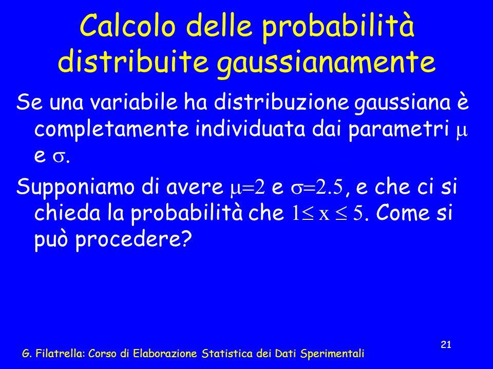 G. Filatrella: Corso di Elaborazione Statistica dei Dati Sperimentali 21 Calcolo delle probabilità distribuite gaussianamente Se una variabile ha dist
