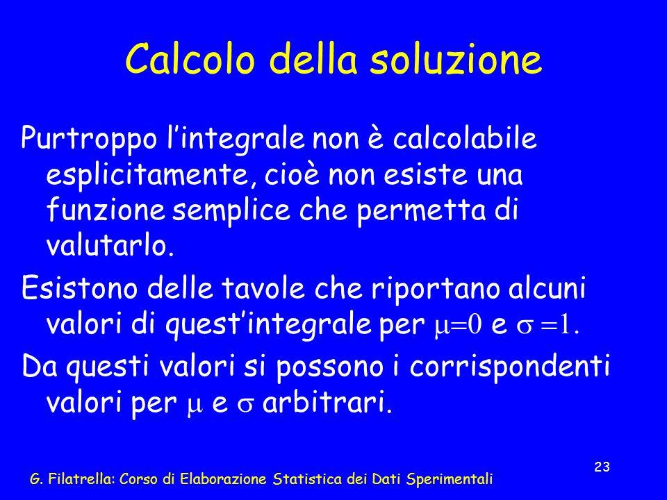 G. Filatrella: Corso di Elaborazione Statistica dei Dati Sperimentali 23 Calcolo della soluzione Purtroppo lintegrale non è calcolabile esplicitamente