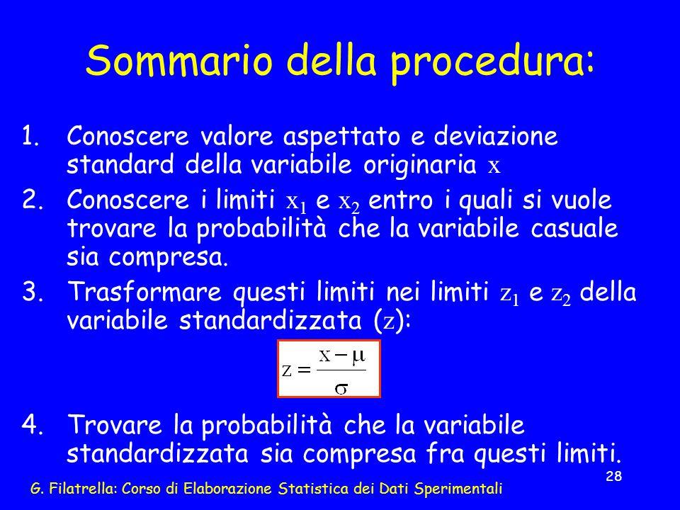 G. Filatrella: Corso di Elaborazione Statistica dei Dati Sperimentali 28 Sommario della procedura: 1.Conoscere valore aspettato e deviazione standard