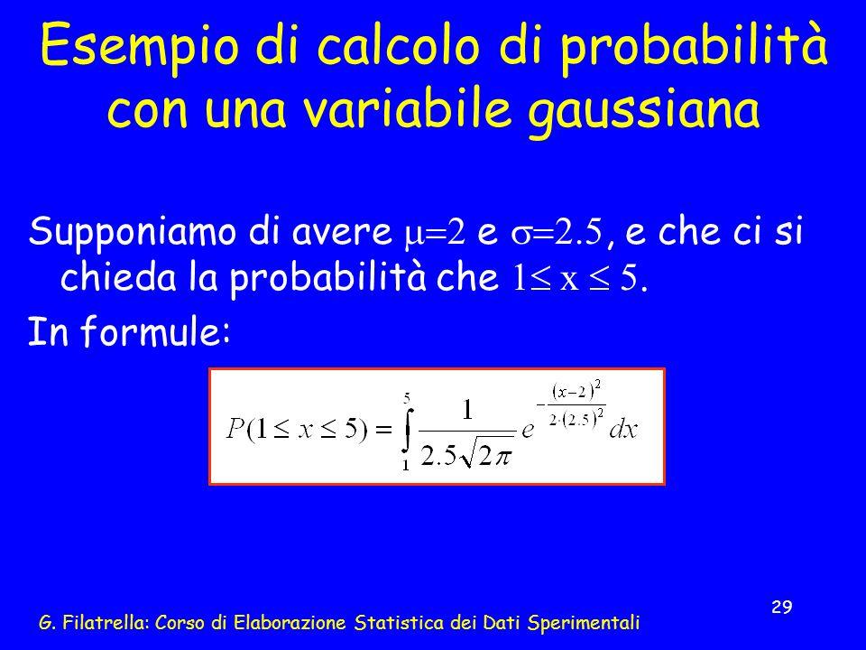 G. Filatrella: Corso di Elaborazione Statistica dei Dati Sperimentali 29 Esempio di calcolo di probabilità con una variabile gaussiana Supponiamo di a