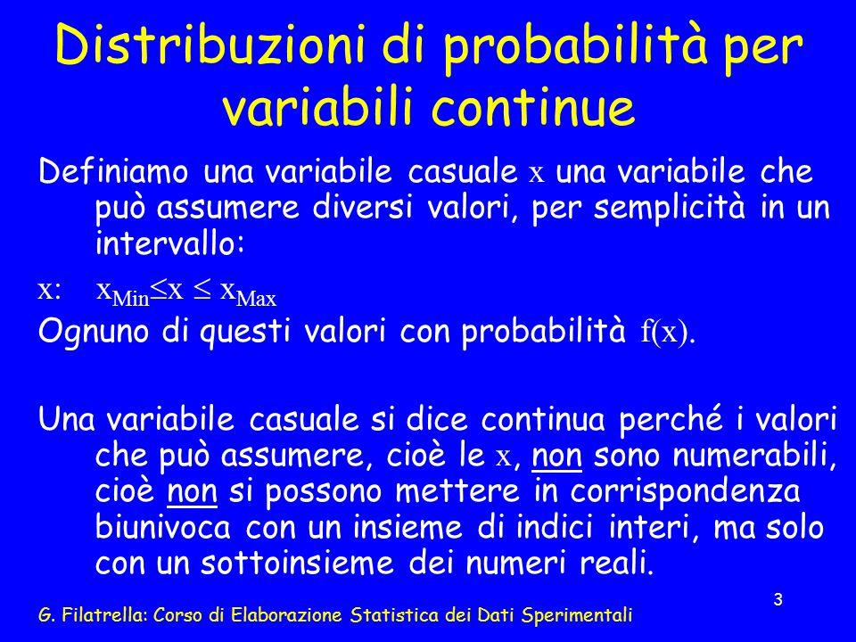 G. Filatrella: Corso di Elaborazione Statistica dei Dati Sperimentali 3 Distribuzioni di probabilità per variabili continue Definiamo una variabile ca