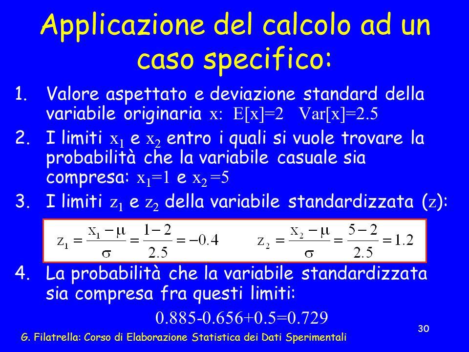 G. Filatrella: Corso di Elaborazione Statistica dei Dati Sperimentali 30 1.Valore aspettato e deviazione standard della variabile originaria x: E[x]=2