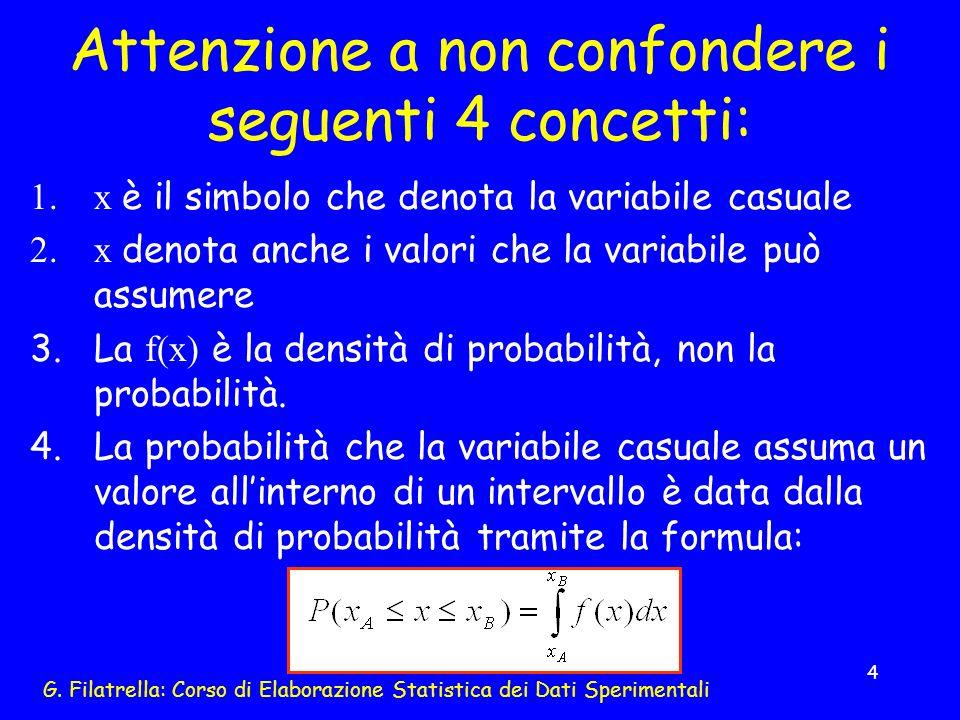 G. Filatrella: Corso di Elaborazione Statistica dei Dati Sperimentali 4 Attenzione a non confondere i seguenti 4 concetti: 1.x è il simbolo che denota