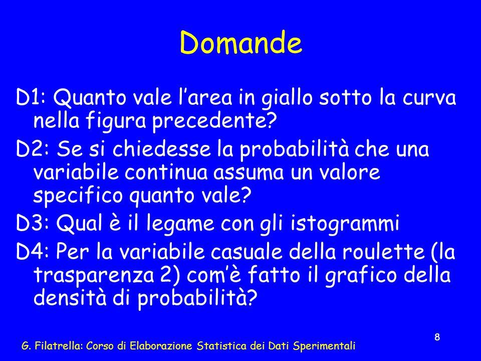 G. Filatrella: Corso di Elaborazione Statistica dei Dati Sperimentali 8 Domande D1: Quanto vale larea in giallo sotto la curva nella figura precedente