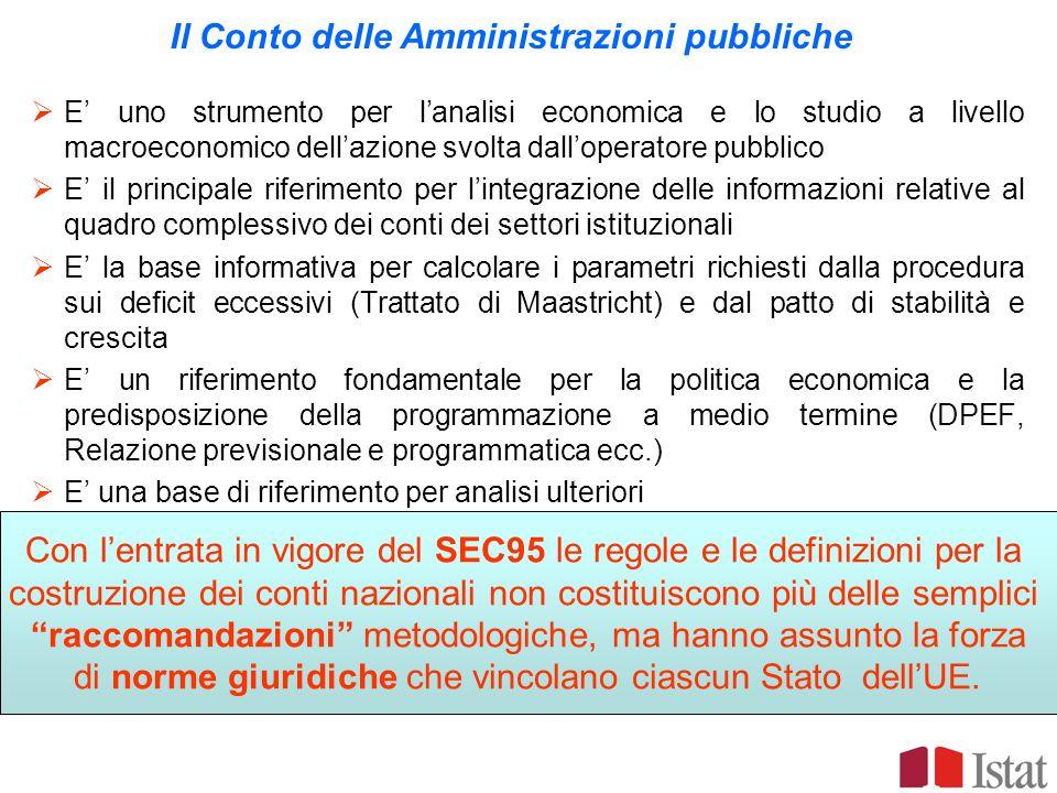Il Conto delle Amministrazioni pubbliche E uno strumento per lanalisi economica e lo studio a livello macroeconomico dellazione svolta dalloperatore p