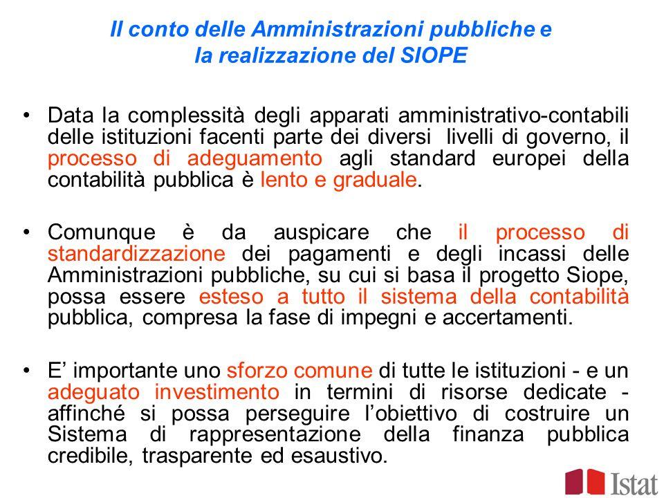 Il conto delle Amministrazioni pubbliche e la realizzazione del SIOPE Data la complessità degli apparati amministrativo-contabili delle istituzioni fa