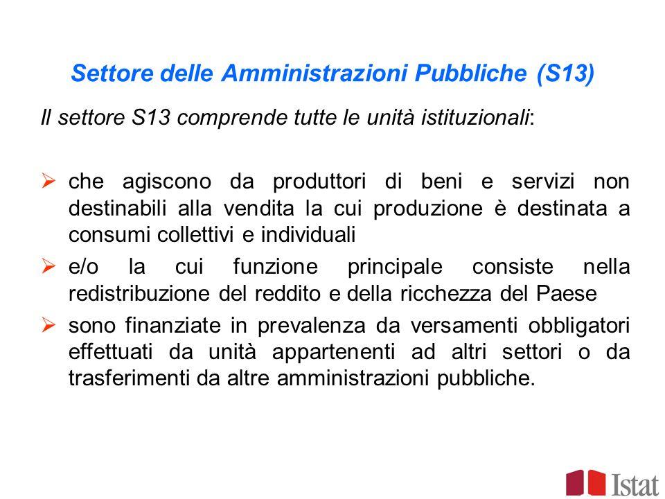 Sottosettori delle amministrazioni pubbliche Amministrazioni centrali (S.1311) Comprende tutti gli organi amministrativi dello Stato e gli altri enti centrali la cui competenza si estende normalmente alla totalità del territorio economico, esclusi gli enti centrali di previdenza ed assistenza Amministrazioni di Stati federati (S.1312) (non esiste in Italia) Amministrazioni locali (S.1313) Comprende gli enti pubblici la cui competenza si estende ad una parte soltanto del territorio economico, esclusi gli enti di previdenza e assistenza sociale Enti di Previdenza e assistenza sociale (S.1314) Comprende tutte le unità istituzionali centrali e locali, la cui attività principale consiste nellerogare prestazioni sociali e che rispondono ai seguenti due criteri : in forza di disposizioni legislative o regolamentari determinati gruppi della popolazione sono tenuti a partecipare al regime o a versare contributi; le amministrazioni pubbliche sono responsabili della gestione dellistituzione per quanto riguarda la fissazione o lapprovazione dei contributi e delle prestazioni, indipendentemente dal loro ruolo di organismo di controllo o di datore di lavoro.
