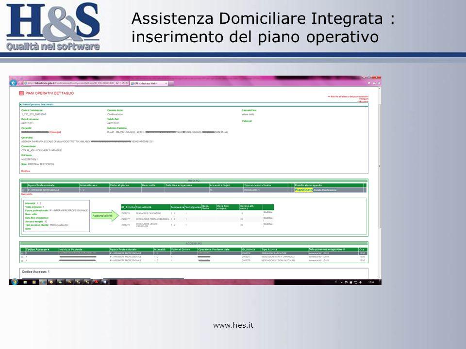 www.hes.it Assistenza Domiciliare Integrata : inserimento del piano operativo