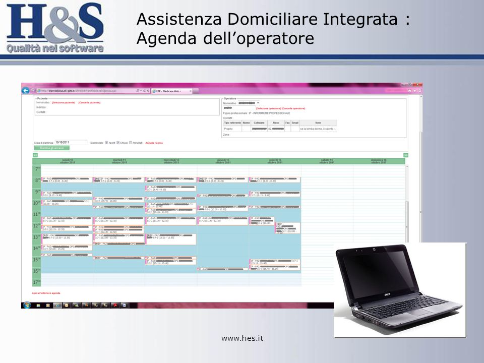 www.hes.it Assistenza Domiciliare Integrata : Agenda delloperatore