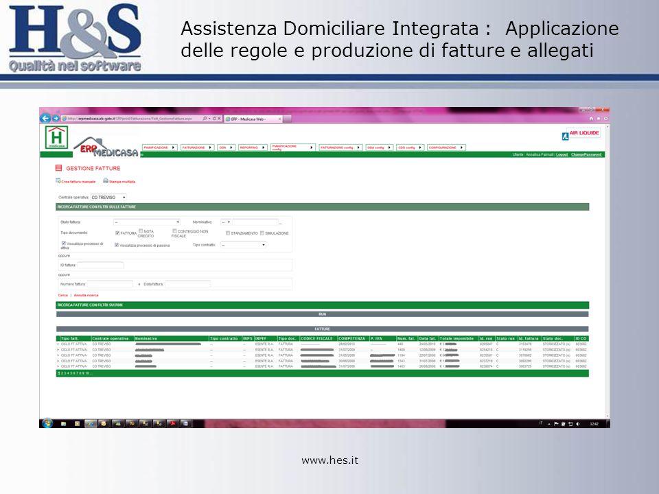 www.hes.it Assistenza Domiciliare Integrata : Applicazione delle regole e produzione di fatture e allegati