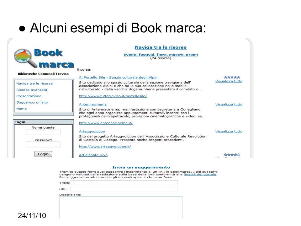 Alcuni esempi di Book marca: 24/11/10