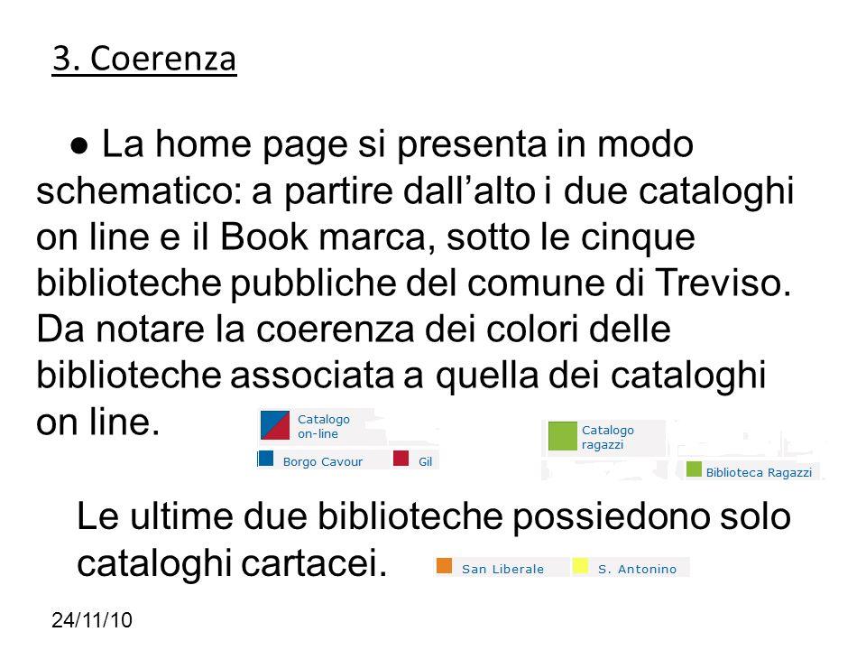 3. Coerenza 24/11/10 La home page si presenta in modo schematico: a partire dallalto i due cataloghi on line e il Book marca, sotto le cinque bibliote