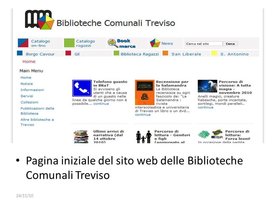 Pagina iniziale del sito web delle Biblioteche Comunali Treviso 24/11/10