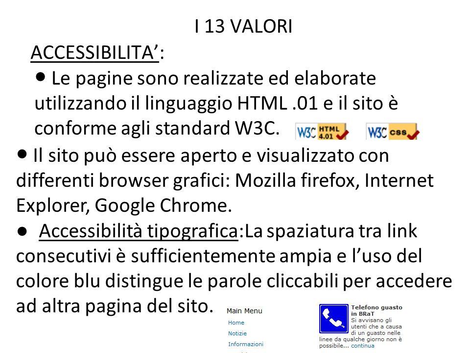 ACCESSIBILITA: I 13 VALORI 24/11/10 Le pagine sono realizzate ed elaborate utilizzando il linguaggio HTML.01 e il sito è conforme agli standard W3C. I