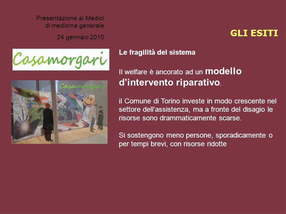Presentazione ai Medici di medicina generale 24 gennaio 2010 Le fragilità del sistema Il welfare è ancorato ad un modello dintervento riparativo. iI C