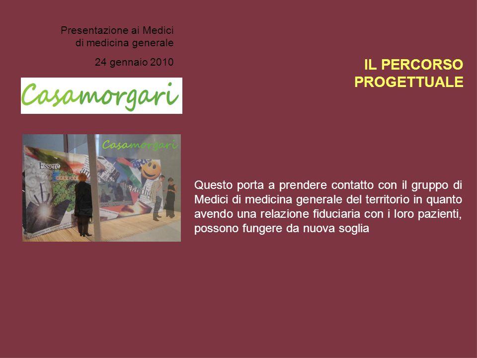 Presentazione ai Medici di medicina generale 24 gennaio 2010 Questo porta a prendere contatto con il gruppo di Medici di medicina generale del territo