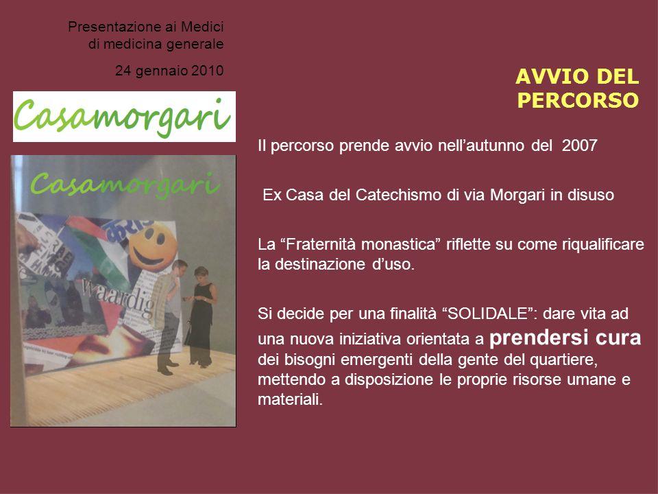 Presentazione ai Medici di medicina generale 24 gennaio 2010 AVVIO DEL PERCORSO Il percorso prende avvio nellautunno del 2007 Ex Casa del Catechismo d