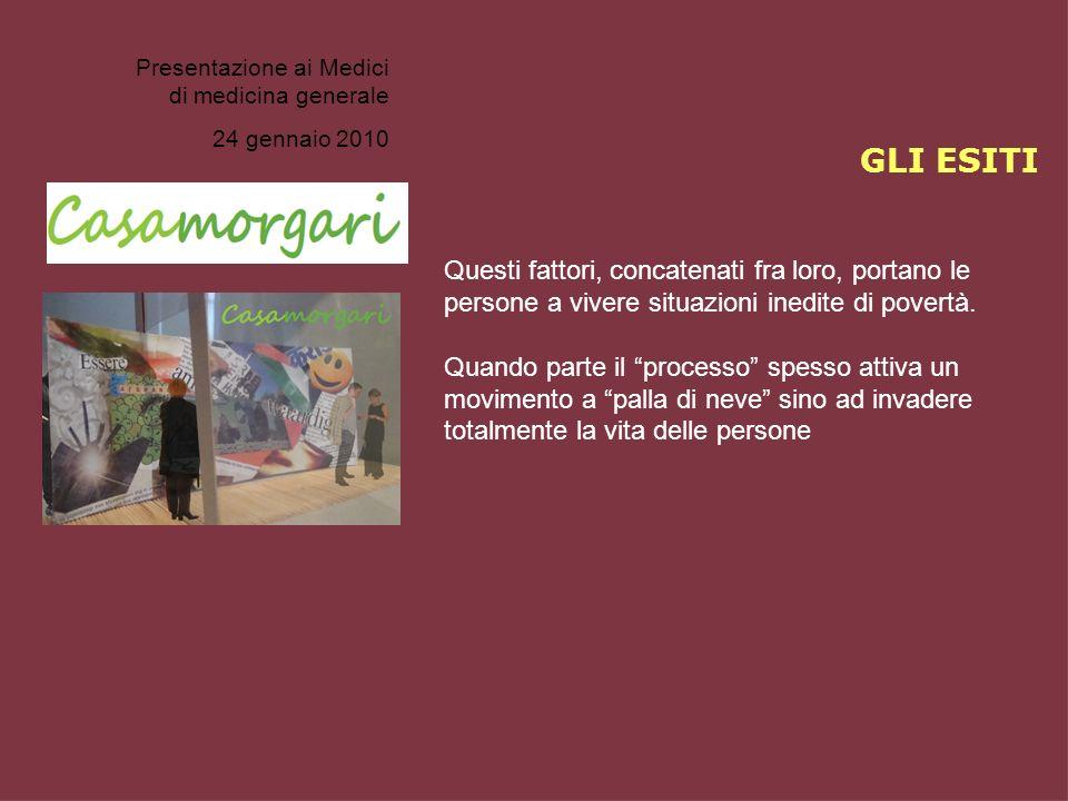 Presentazione ai Medici di medicina generale 24 gennaio 2010 Questi fattori, concatenati fra loro, portano le persone a vivere situazioni inedite di p