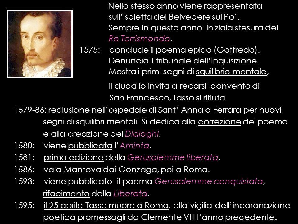 Nello stesso anno viene rappresentata sullisoletta del Belvedere sul Po. Sempre in questo anno iniziala stesura del Re Torrismondo. 1575: conclude il
