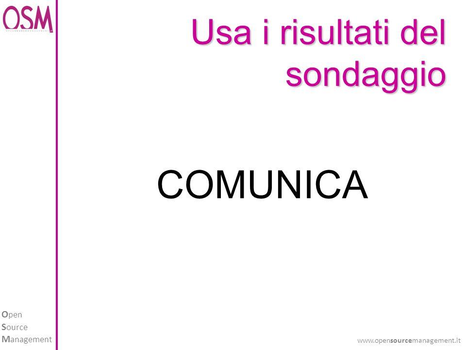 O pen S ource M anagement www.opensourcemanagement.it COMUNICA Usa i risultati del sondaggio