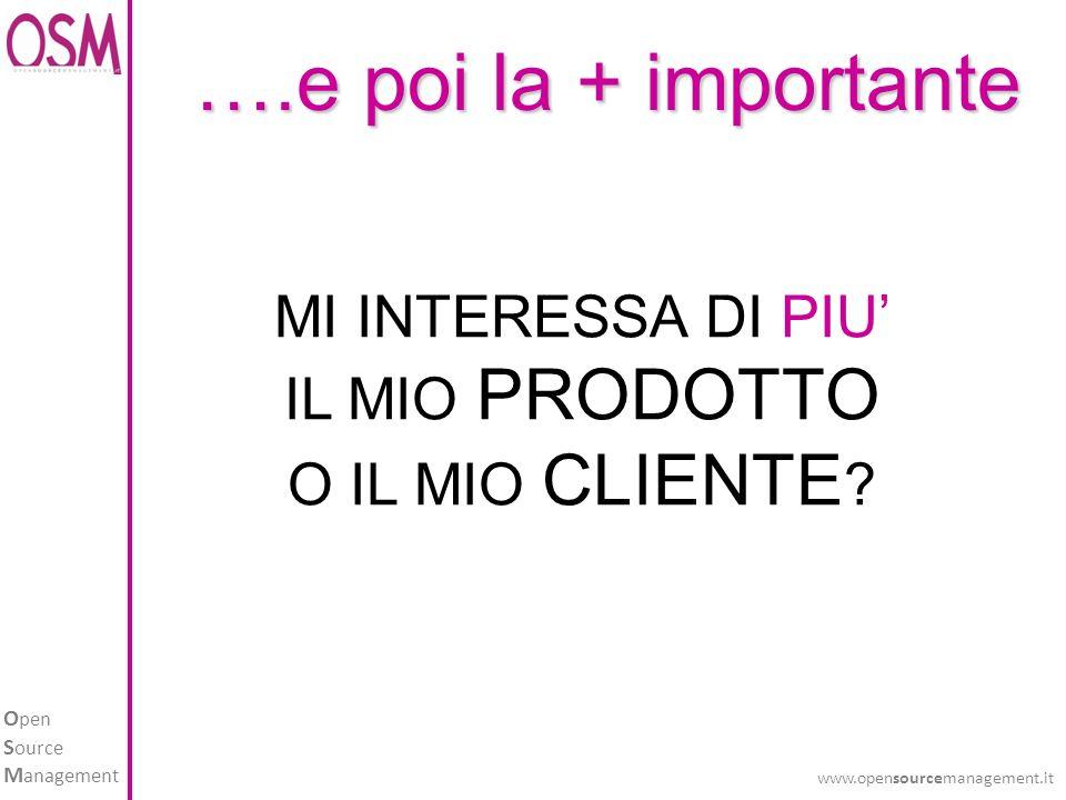 O pen S ource M anagement www.opensourcemanagement.it MI INTERESSA DI PIU IL MIO PRODOTTO O IL MIO CLIENTE .