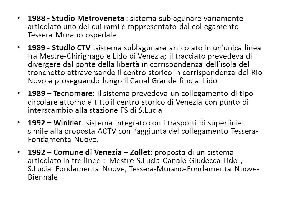 1988 - Studio Metroveneta : sistema sublagunare variamente articolato uno dei cui rami è rappresentato dal collegamento Tessera Murano ospedale 1989 -