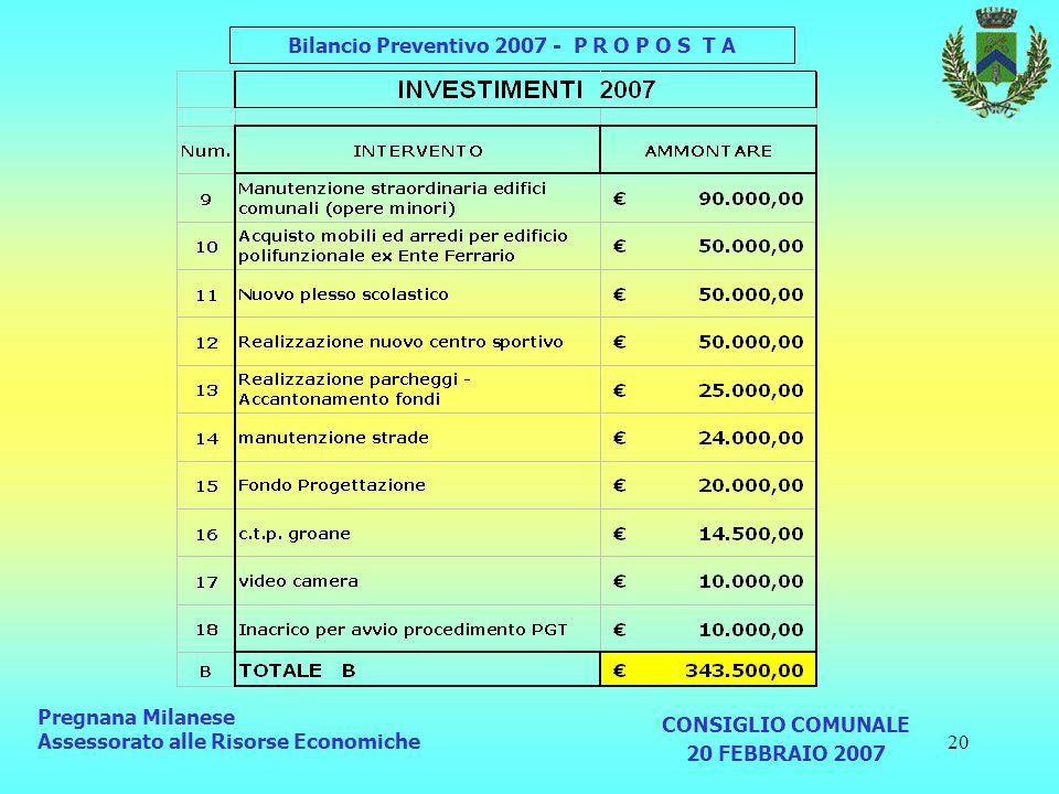 20 Pregnana Milanese Assessorato alle Risorse Economiche CONSIGLIO COMUNALE 20 FEBBRAIO 2007 Bilancio Preventivo 2007 - P R O P O S T A