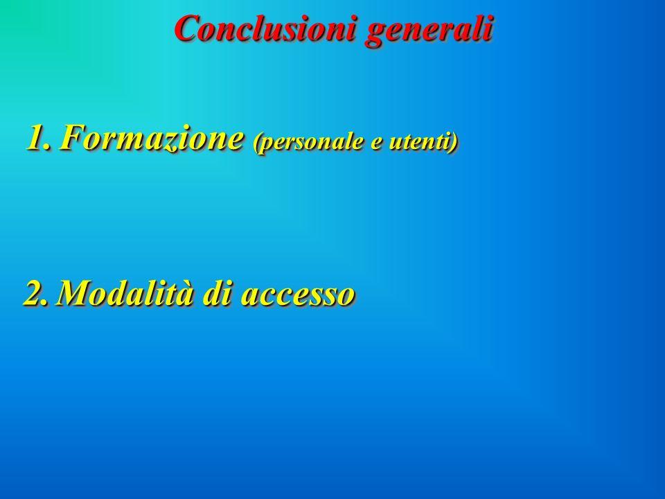 Conclusioni generali 1.Formazione (personale e utenti) 2.Modalità di accesso