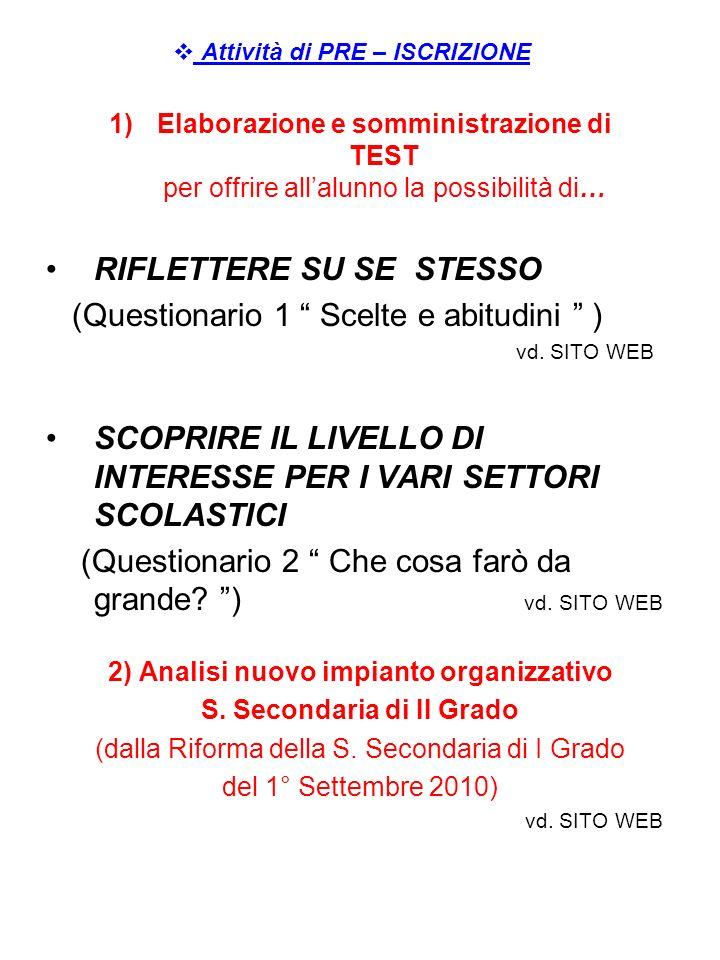 Attività di PRE – ISCRIZIONE 1)Elaborazione e somministrazione di TEST per offrire allalunno la possibilità di… RIFLETTERE SU SE STESSO (Questionario