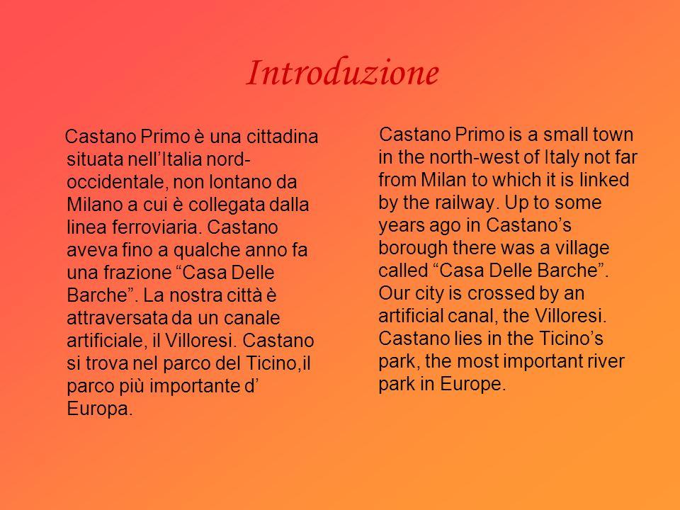 Introduzione Castano Primo è una cittadina situata nellItalia nord- occidentale, non lontano da Milano a cui è collegata dalla linea ferroviaria.