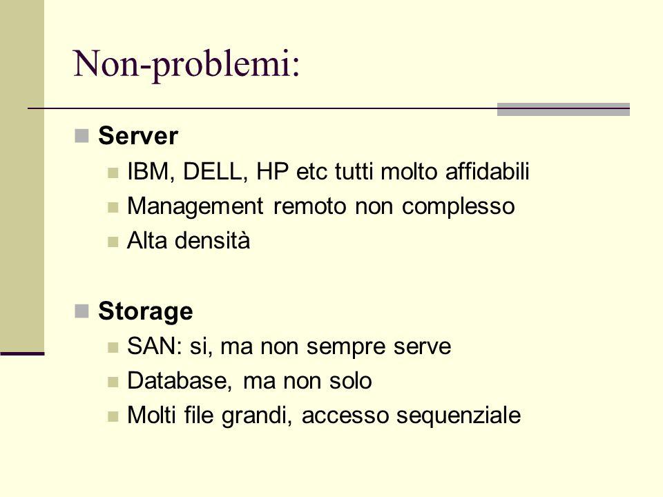 Non-problemi: Server IBM, DELL, HP etc tutti molto affidabili Management remoto non complesso Alta densità Storage SAN: si, ma non sempre serve Database, ma non solo Molti file grandi, accesso sequenziale