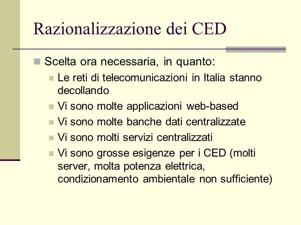 Razionalizzazione dei CED Scelta ora necessaria, in quanto: Le reti di telecomunicazioni in Italia stanno decollando Vi sono molte applicazioni web-based Vi sono molte banche dati centralizzate Vi sono molti servizi centralizzati Vi sono grosse esigenze per i CED (molti server, molta potenza elettrica, condizionamento ambientale non sufficiente)